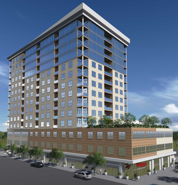 Apartment Building Elevation 3d rendering - commercial site plan