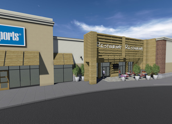 Plan And Elevation Of Restaurant : D rendering commercial site plan