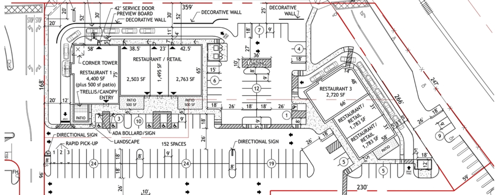 Nice sample house plans 3 parking lot site plan 1600x623 Home site plan
